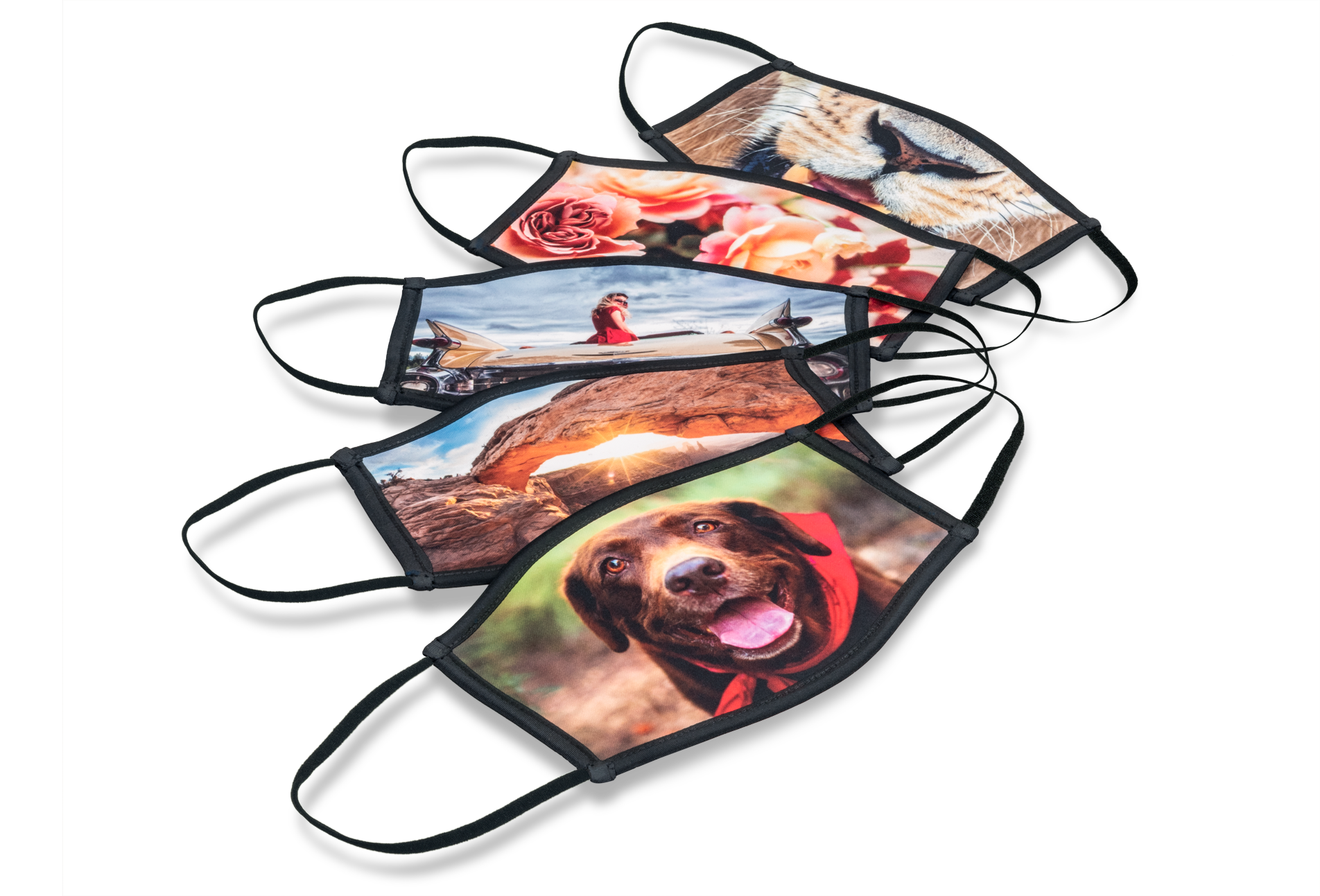 Custom Printed Face Masks are available in large and small sizes