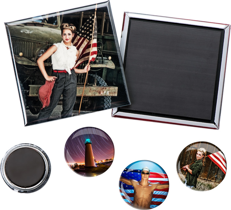 Photo Magnet Buttons are made from a print on photo paper.