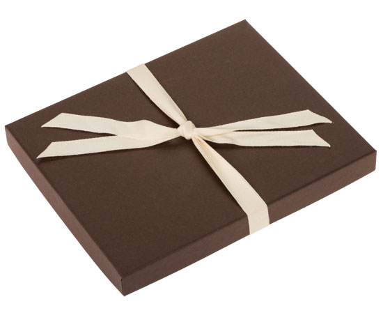 Chocolate colored Boutique Gift Box Packaging for your photos.