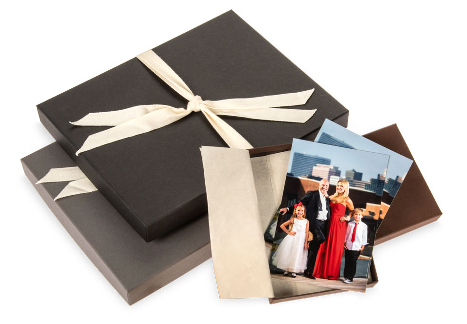 Gift box boutique packaging for your photo prints.