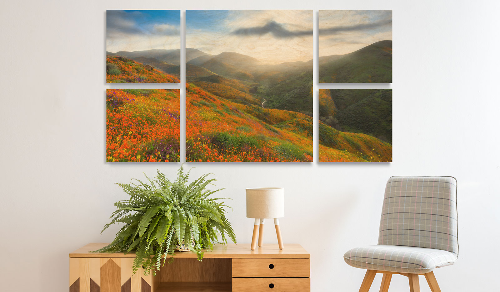 Wall Clusters & Splits - Wall Displays Featuring Your Images on Maple Wood Prints